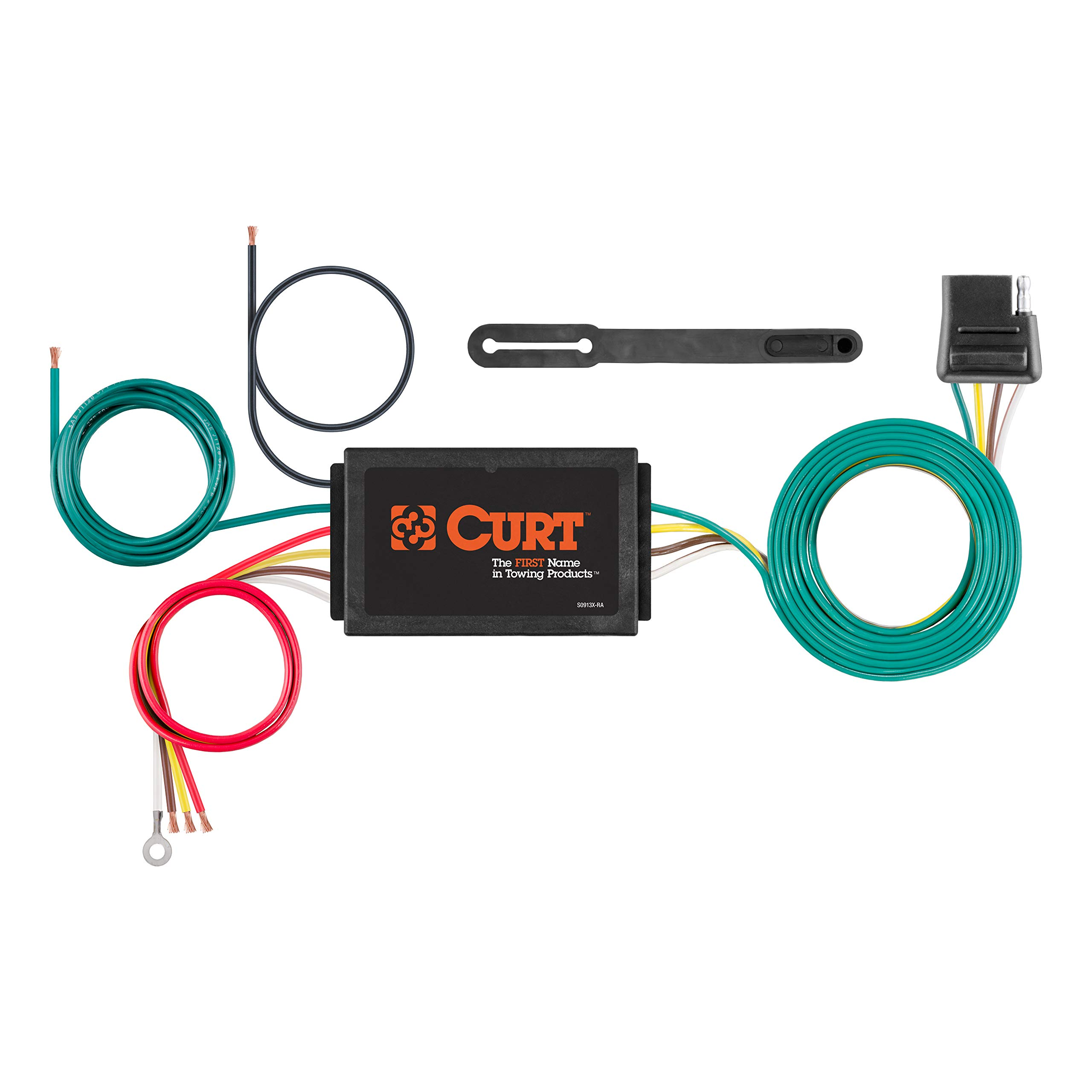 CURT 56146 Powered 3-to-2-Wire Splice-in Trailer Tail Light Converter with 4-Pin Wiring Harness by CURT