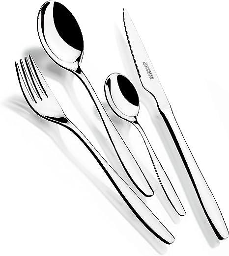 Monix Zurich - Set 75 piezas cubiertos de acero inox 18/10 con cuchillo chuletero y estuche Nogal (12 comensales): Amazon.es: Hogar