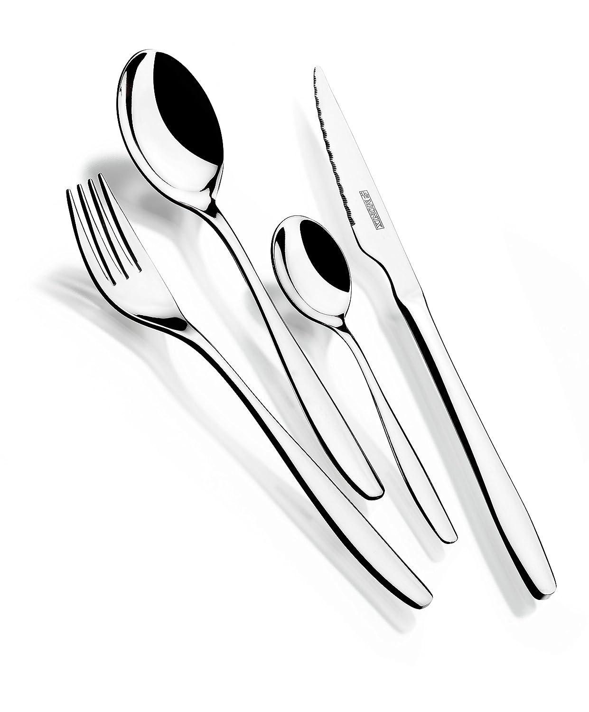 Monix Zurich - Set 113 piezas cubiertos de acero inox 18/10 con cuchillo chuletero y estuche estilo Nogal: Amazon.es: Hogar