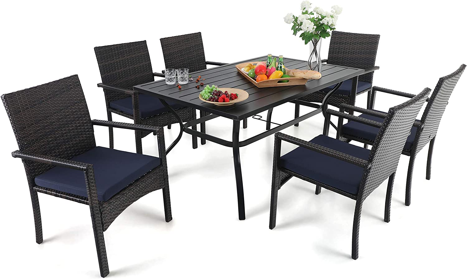 """PHI VILLA 7 Piece Patio Dining Sets, Outdoor Slatted Metal Table with 1.57"""" Umbrella Hole & 6 Rattan Wicker Chair for Deck, Yard, Porch"""