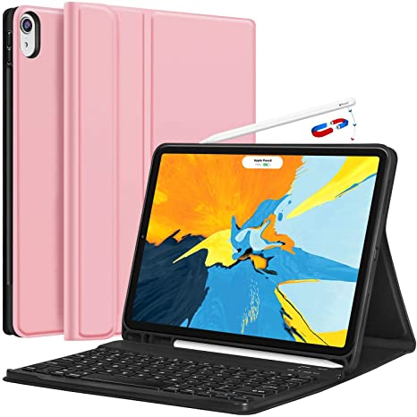buy online ba58e bded6 iPad Pro 11 Keyboard Case 2018 - Detachable Wireless Keyboard [Support  Apple Pencil Charging] - Ultra Slim PU Leather Folio Stand Cover with  Pencil ...