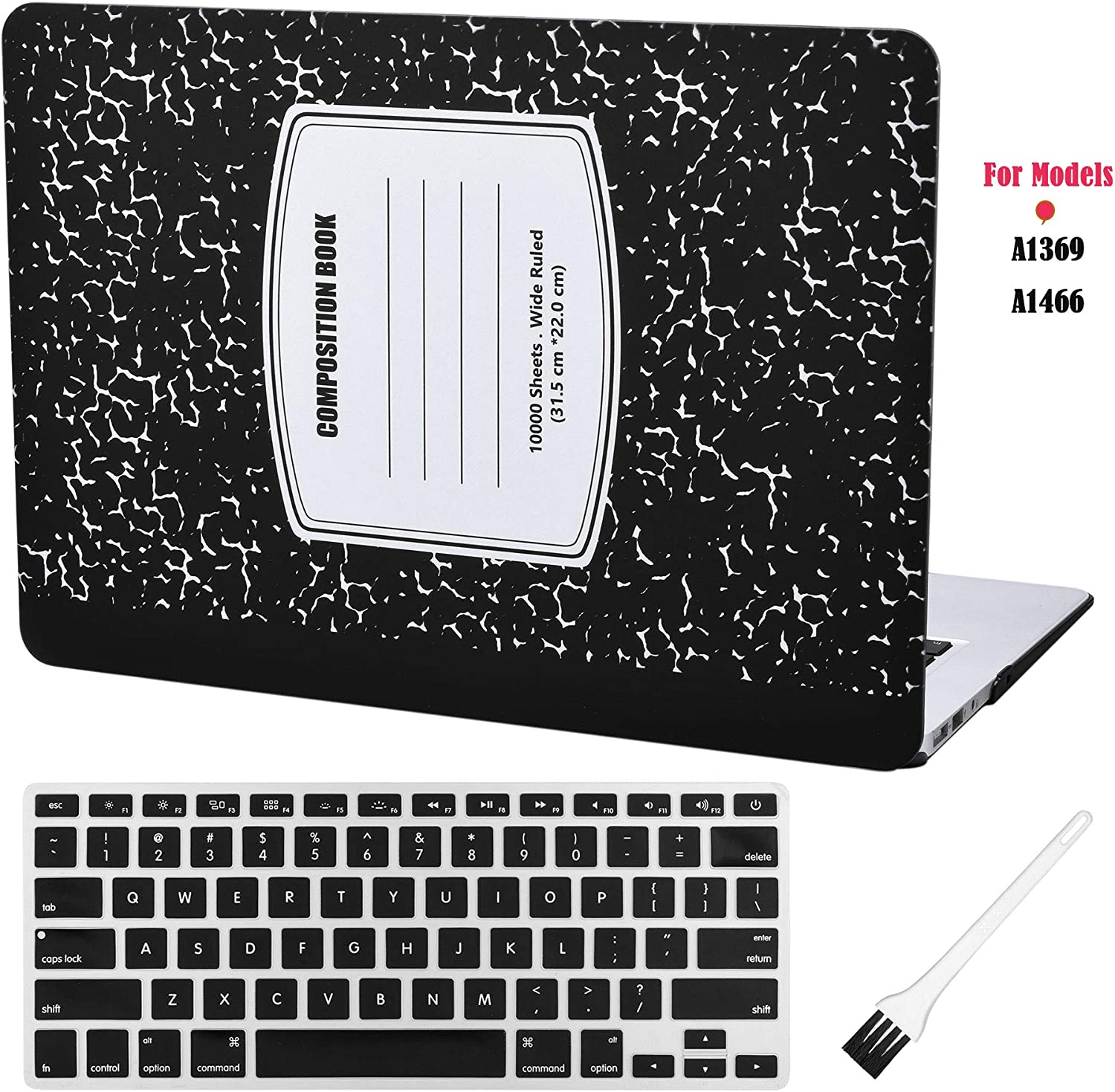 Laptop Hard Case MacBook Air 13 inch Case A1369 A1466 Composition Notebook Cover (Old Version 2010-2017) with Silicone Keyboard Cover and Dust Brush-Notebook-Black