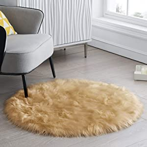 CIICOOL Soft Faux Sheepskin Fur Area Rugs Fluffy Rugs for Bedroom Silky Fuzzy Carpet, Furry Rug for Living Room Girls Rooms, Khaki Round 3 x 3 Feet
