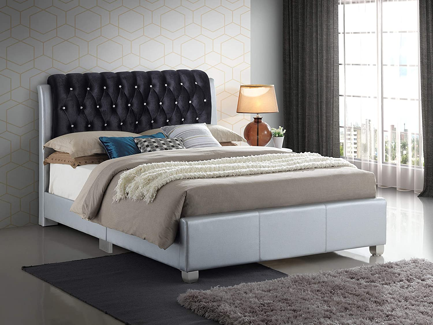 Amazon.com: Glory Furniture Marilla G1503C-QB-UP Queen, Silver Bed Room Furniture 48