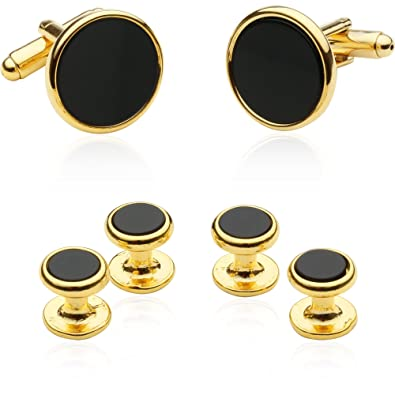 Para Hombre Dorado Oro y Negro Formal Vestido Camisa Botón Stud conjunto y gemelos