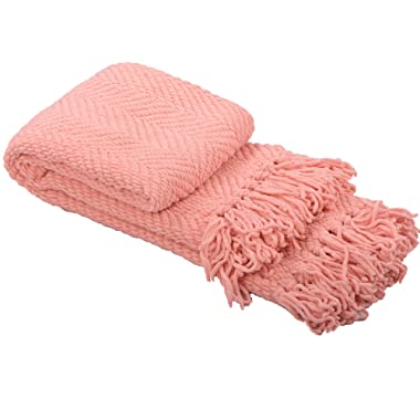 Home Soft Things Knitted Tweed Throw Couch Cover Blanket, 50  x 60 , Peach Melba