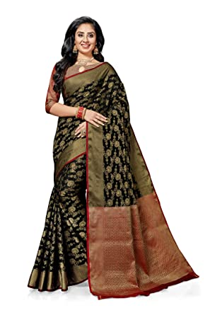 f712ac2c58 Ashika Raw Silk Woven Festive Gadwal Black Saree for Women with Blouse Piece