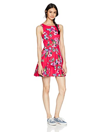 Amazon.com  Speechless Women s Poplin Fit and Flare Dress (Junior s ... 0f62d2a67