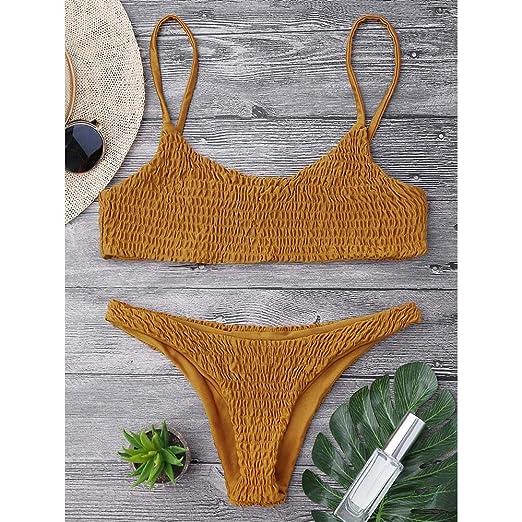 Amazon Dezzal Womens Spaghetti Strap Shirred Smocked Two Piece