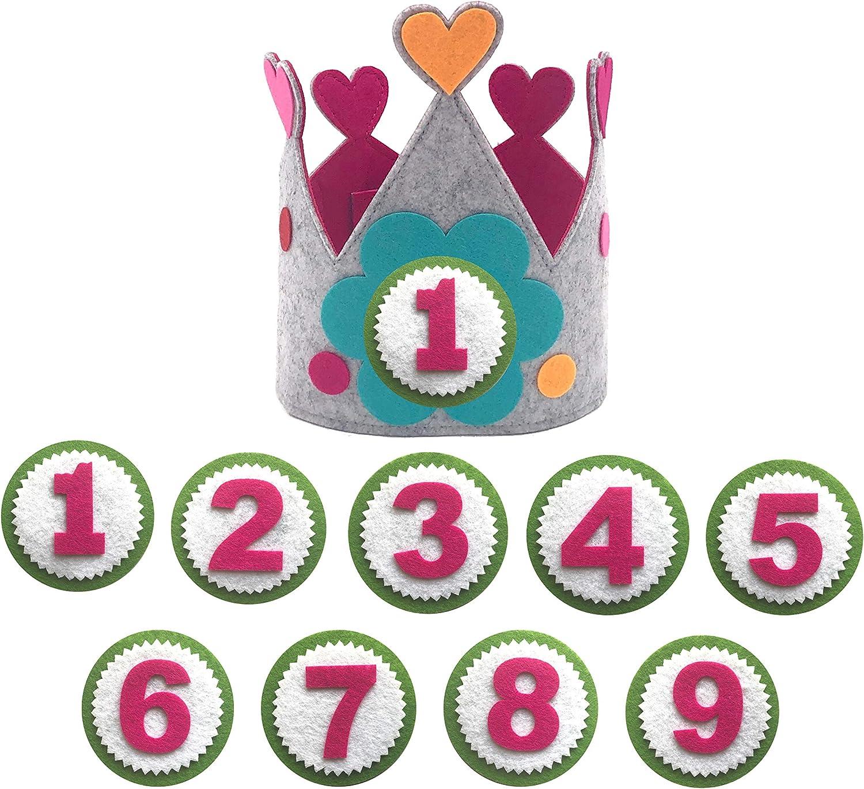Maxi Nona Corona para cumpleaños o Fiestas Infantiles con números del 1 al 9 (Corazón)
