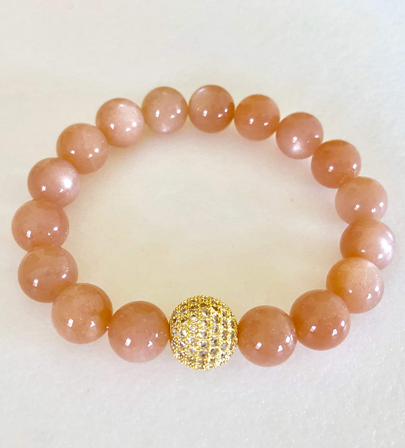 Peach Moonstone Bracelet Stretch Bracelet. Boho Gold Micro Pave Cubic Zirconia Bead Healing Gemstone Natural Moonstone June Birthstone Stacking