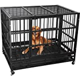 Lemberi Heavy Duty Dog Cage Crate, Pet Kennel Strong Metal for Training Large Dog, Easy to Assemble, with Two Prevent Escape