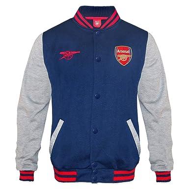 new concept ccda5 b668b Arsenal FC Official Football Gift Mens Retro Varsity Baseball Jacket Navy  Amazon.co.uk Clothing