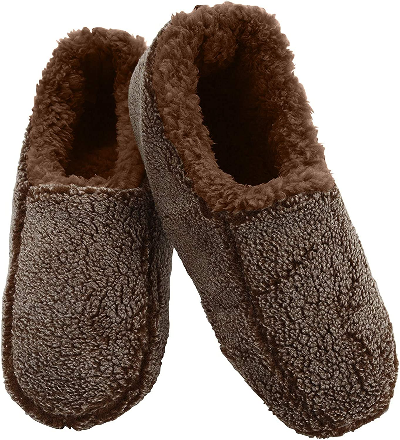 Multiple Sizes and Colors Snoozies Mens Two Tone Fleece Lined Slippers Fuzzy Mens Slipper Socks Comfortable Slippers for Men Soft Sole Mens House Slippers