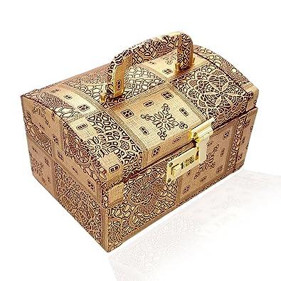 N A PURSE Handmade Wooden Makup Box for Women (Golden)