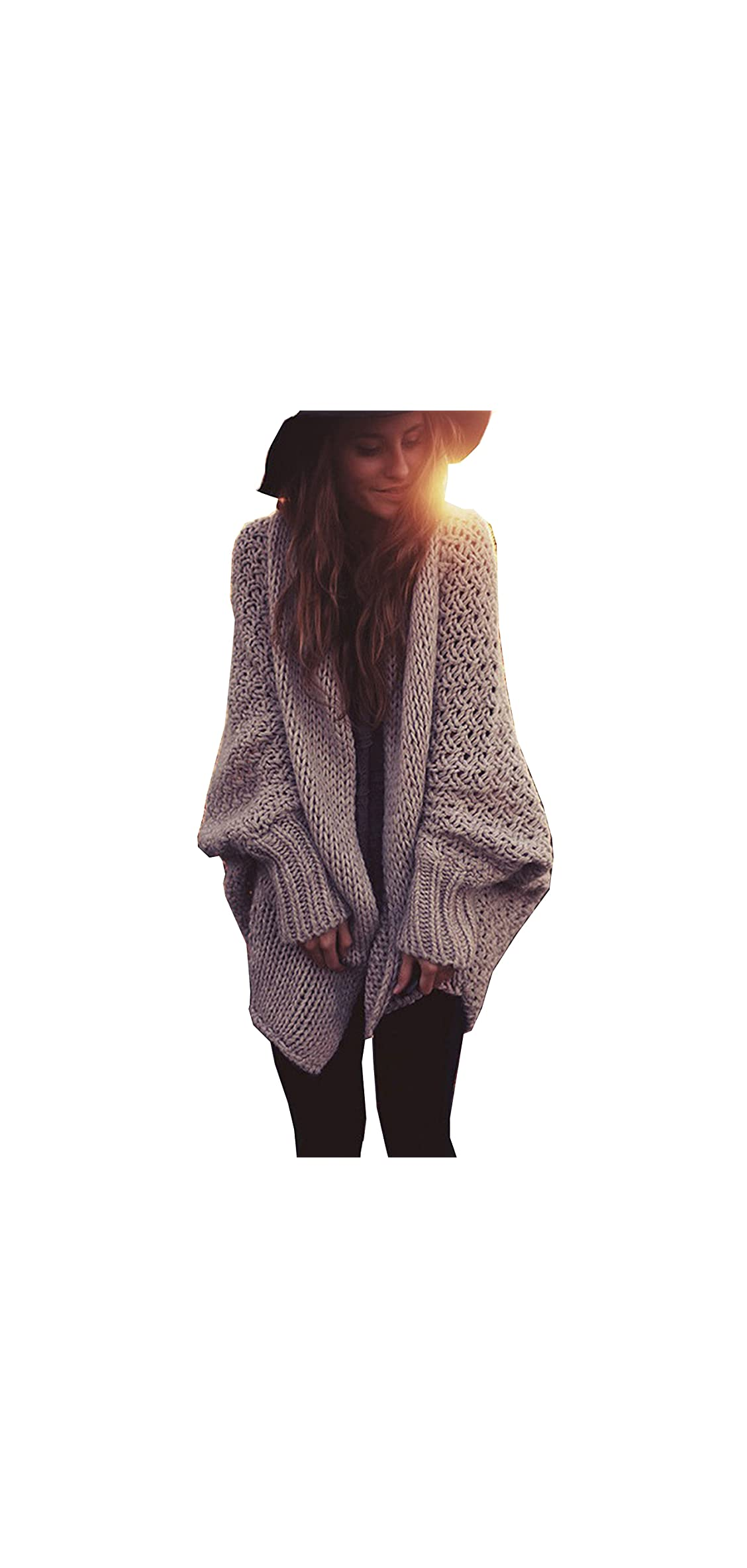 Mcupper-women Oversized Loose Knitted Sweater Batwing Sleeve