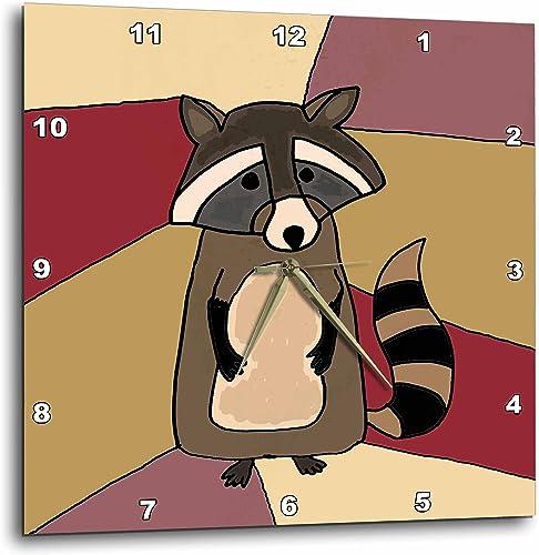 3dRose dpp_195216_3 Funny Raccoon Art-Wall Clock, 15 by 15-Inch
