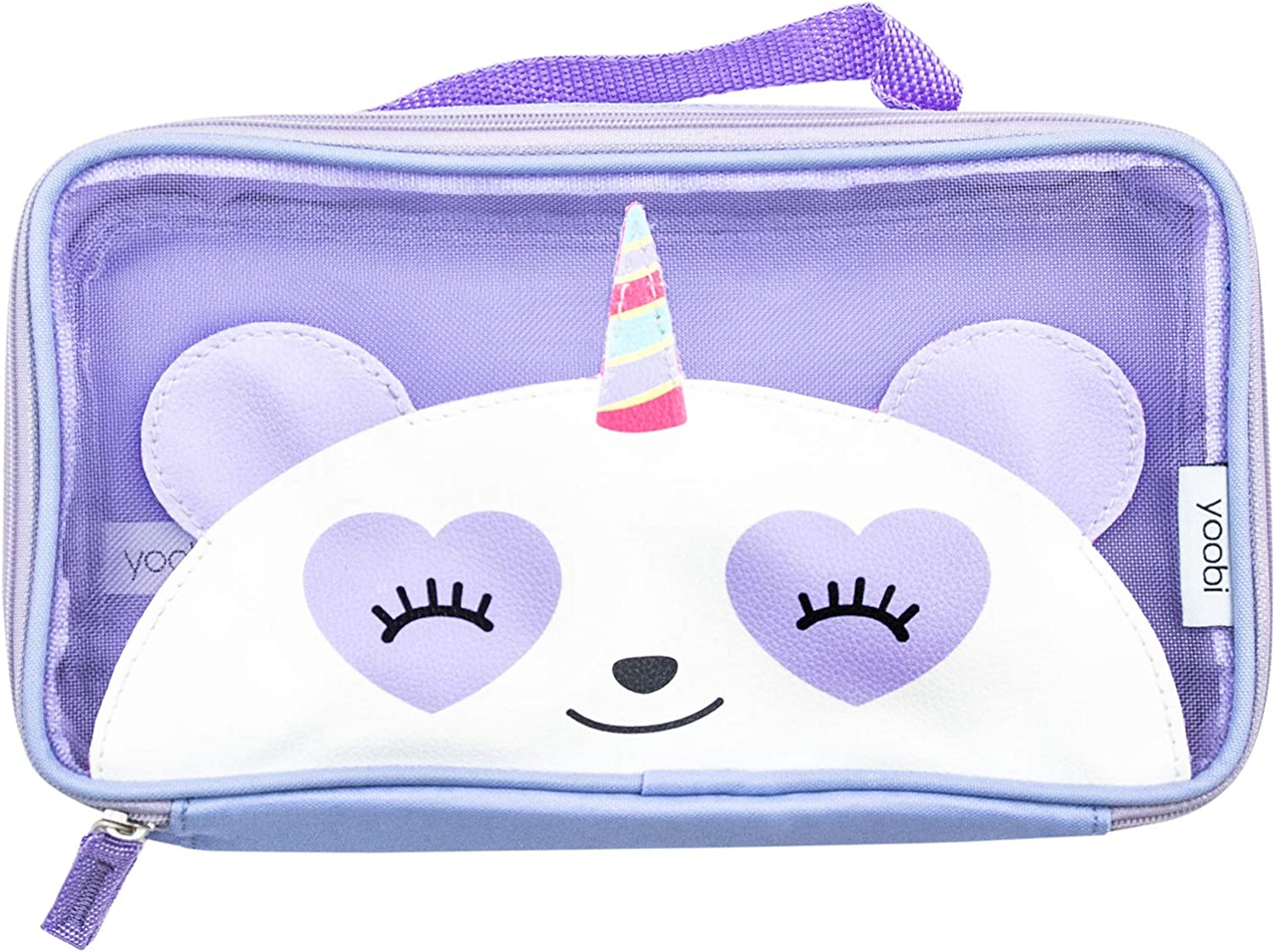 Yoobi | Pencil Case Storage Pouch for Kids | Pandacorn See Through Purple Mesh with Zipper Closure and Carry Handle | PVC Free