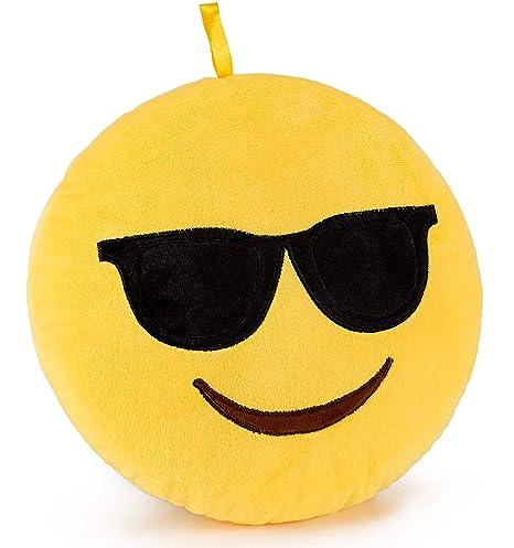 Brubaker Emoji Cojín de peluche - 25 cm - Gafas de sol ...