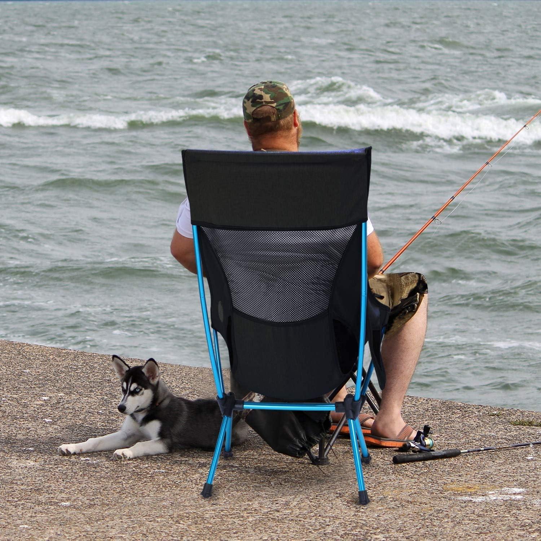 G4Free Chaise de Camping Pliable L/éger avec Appui-t/ête Pochette Lat/érale Sac de Transport pour Camping Pique-Nique Plage F/ête