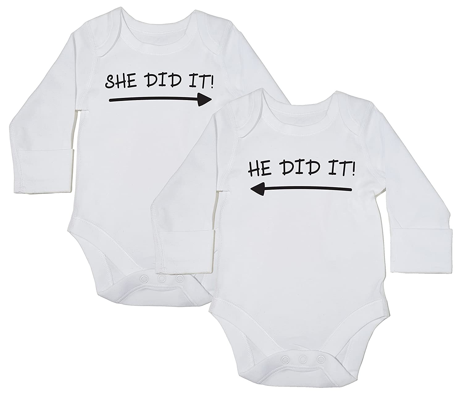 Boys Girls Long Sleeve Baby Bodysuit Hippowarehouse She Did It and He Did It Twin Pack