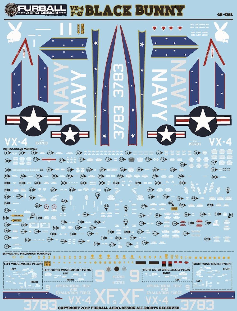 Furball Decals 1//48 MCDONNELL DOUGLAS F-4J PHANTOM II VX-4 BLACK BUNNY