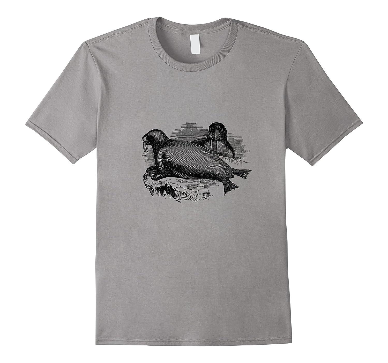 Arctic Ocean Walruses Vintage Print T-Shirt-AZP