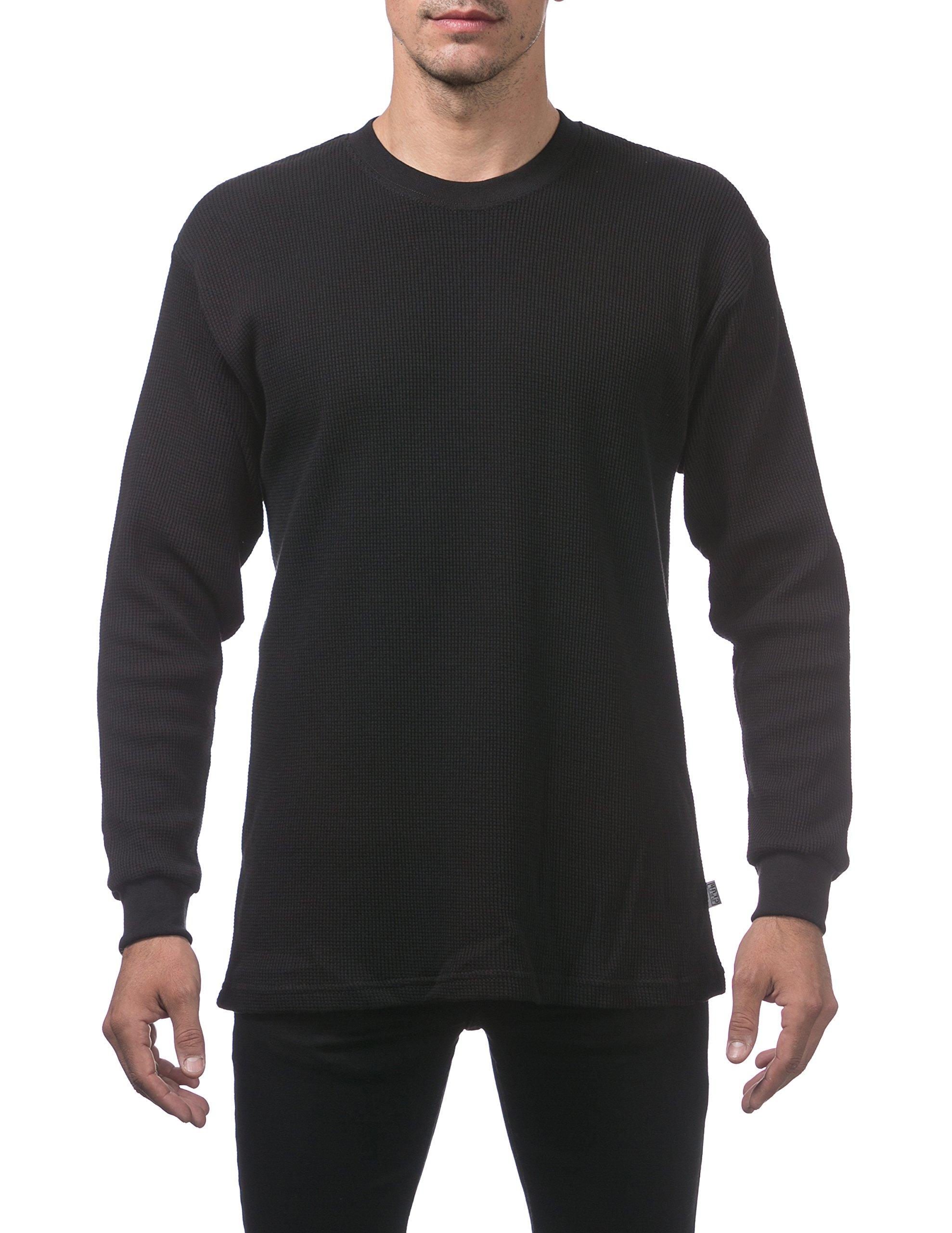 Pro Club Men's Heavyweight Cotton Long Sleeve Thermal Top, Medium, Black by Pro Club