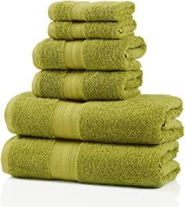 SUPERIOR 700 GSM Long Staple 100% Combed Cotton, Durable, Plush and Absorbent 6-Piece Single Ply Towel Set, Green Essence