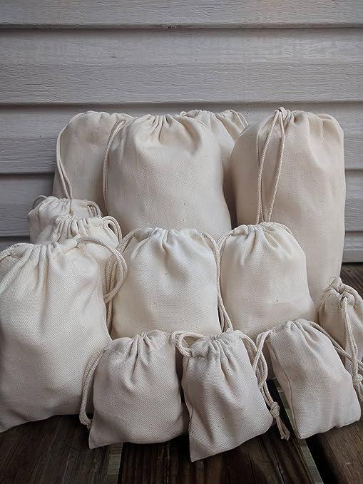 1a19e4eecf Amazon.com: 3 x 4 Inches COTTON CANVAS DOUBLE DRAWSTRING MUSLIN BAG ...