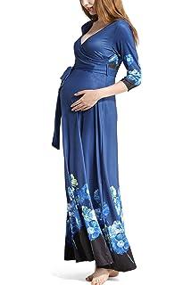Molliya Mujer Vestido Largo Premamá 3/4 Mangas Floral de Moda con Cuello en V