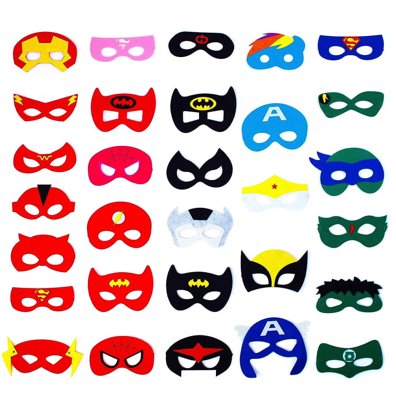 Dropplex 30 Superhero Masks Kids-Super Hero Party Supplies Justice League Birthday Favor