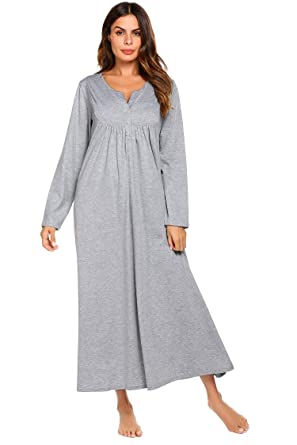 68080e5d78 Skylin Women O-Neck Solid Long Robes Loose Full Length Nightgown Pregnant  Nightdress S-XXL