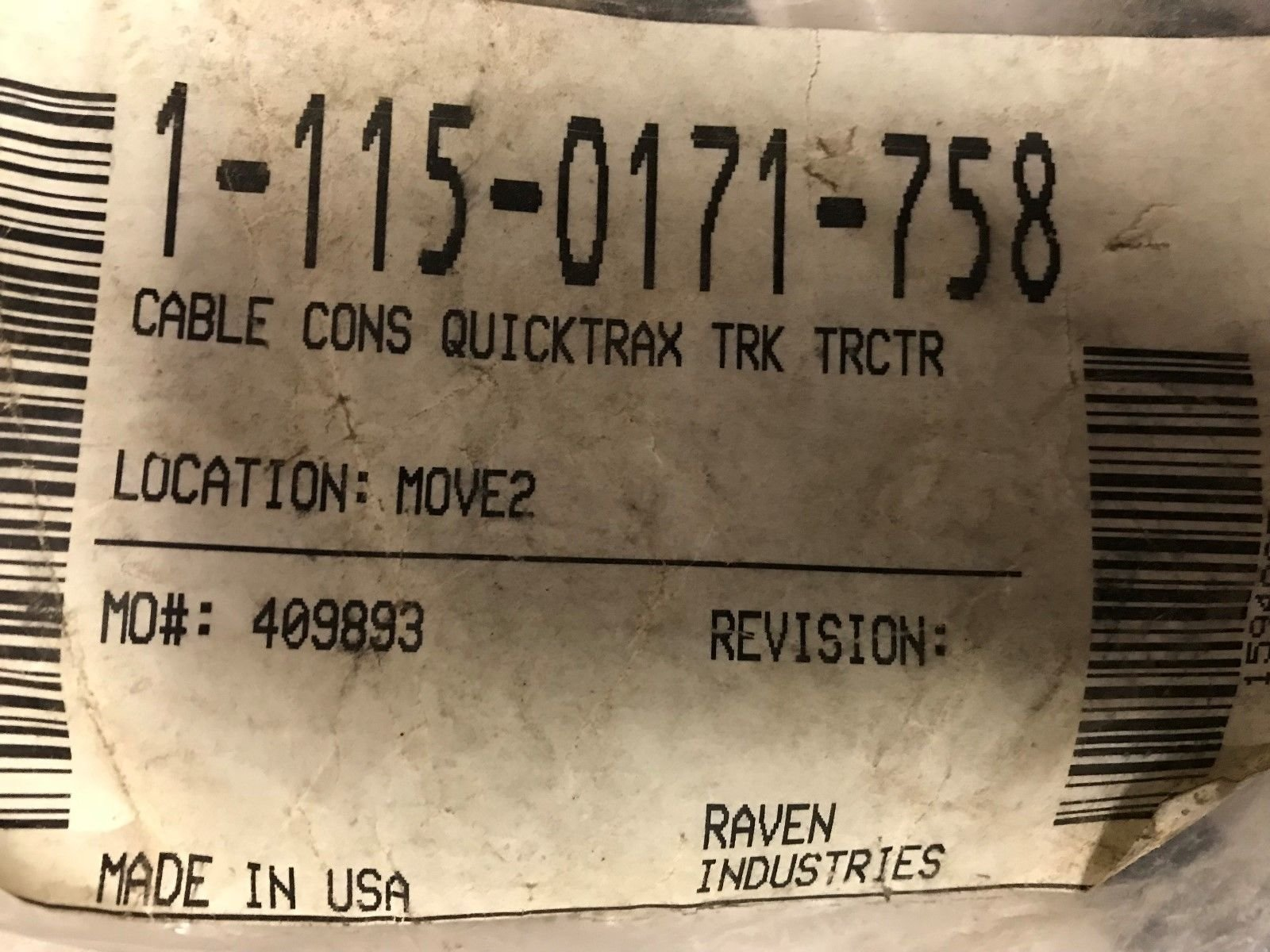 Raven 115-0171-758 Cable Console Cable Quicktrax