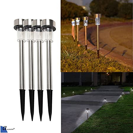 Ascension ® Solar LED Rod Light for Garden White Waterproof Auto on/Off (Pack of 4)