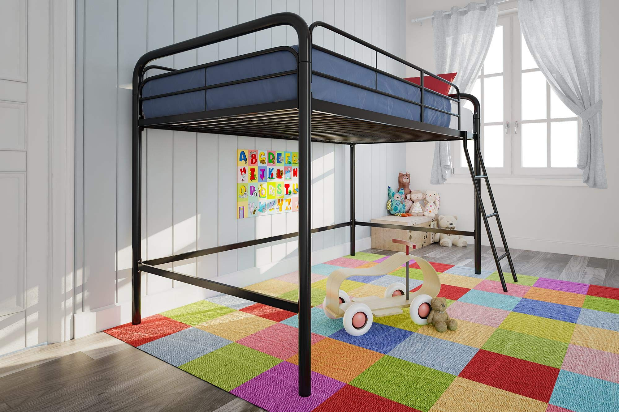 DHP Junior Loft Bed Frame With Ladder, Black by DHP