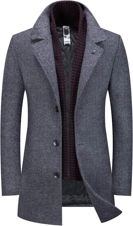 CHARTOU Mens New Wool Blend Gentlman Winter Midi Busiess Jacket Trench Coat