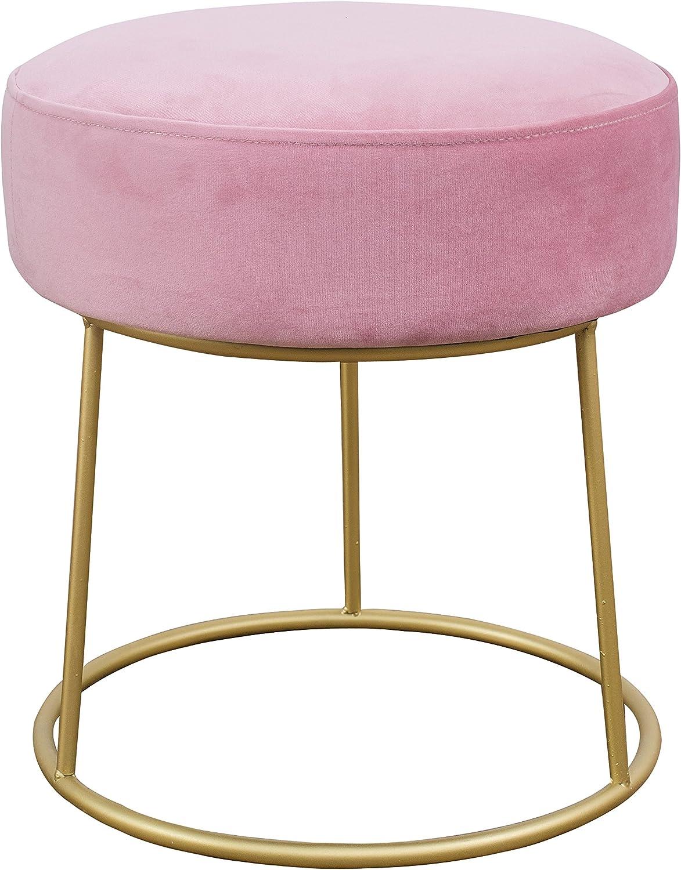 TOV Furniture The Nina Collection Modern Velvet Upholstered Round Backless Short Stool with Gold Base, Blush