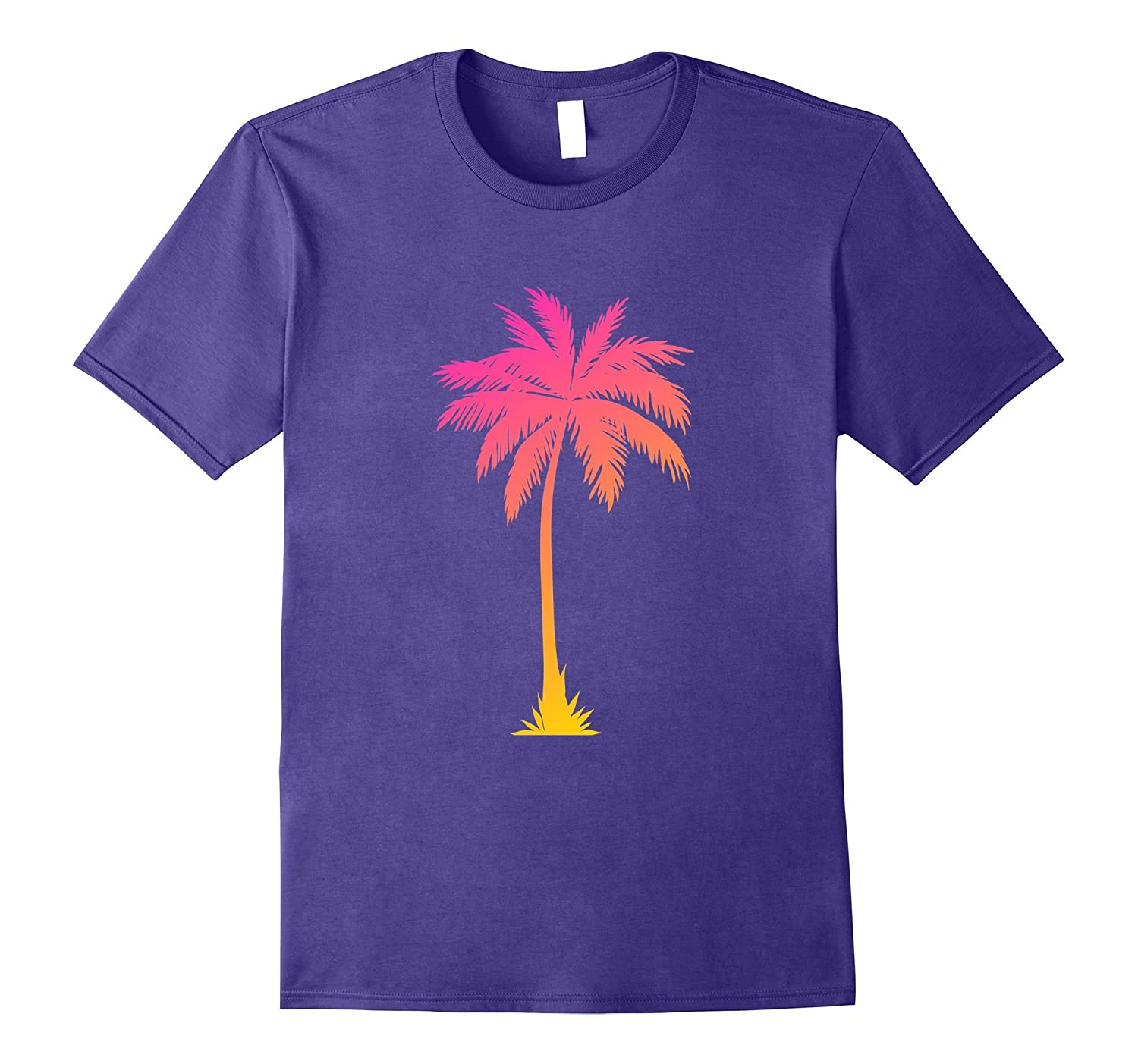Casual Trendy Hot Summer Palm Tree Gold Pink Blend T-shirt-Art