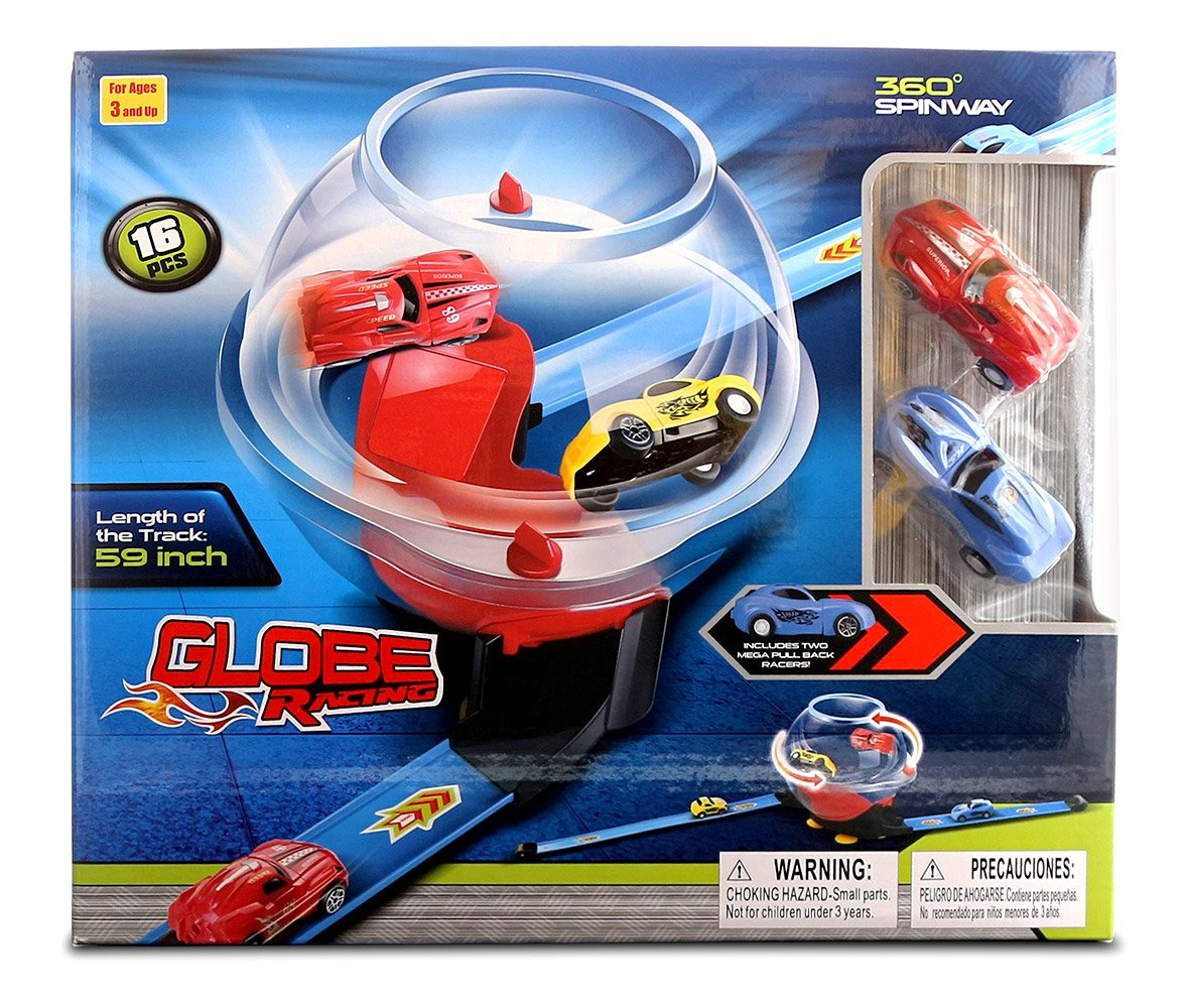 16pc Set - Item #101348 Includes 2 Pull Back Racers Toy Race Cars Mozlly Globe Racing Super Stunt 360 Spinway Race Track