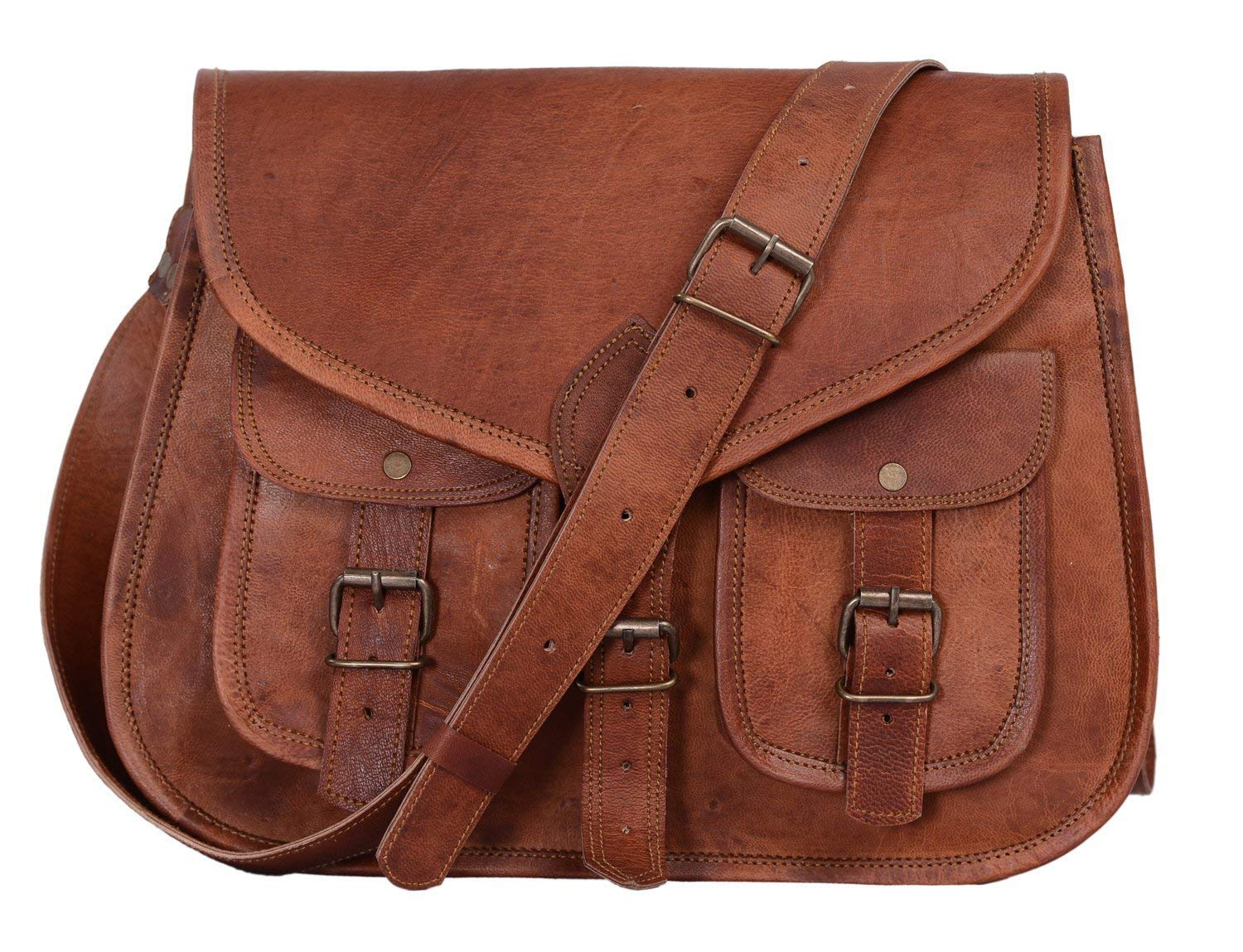 KPL 14 Inch Leather Purse Women Shoulder Bag Crossbody Satchel Ladies Tote Travel Purse Genuine Leather (Tan Brown) by Komal's Passion Leather