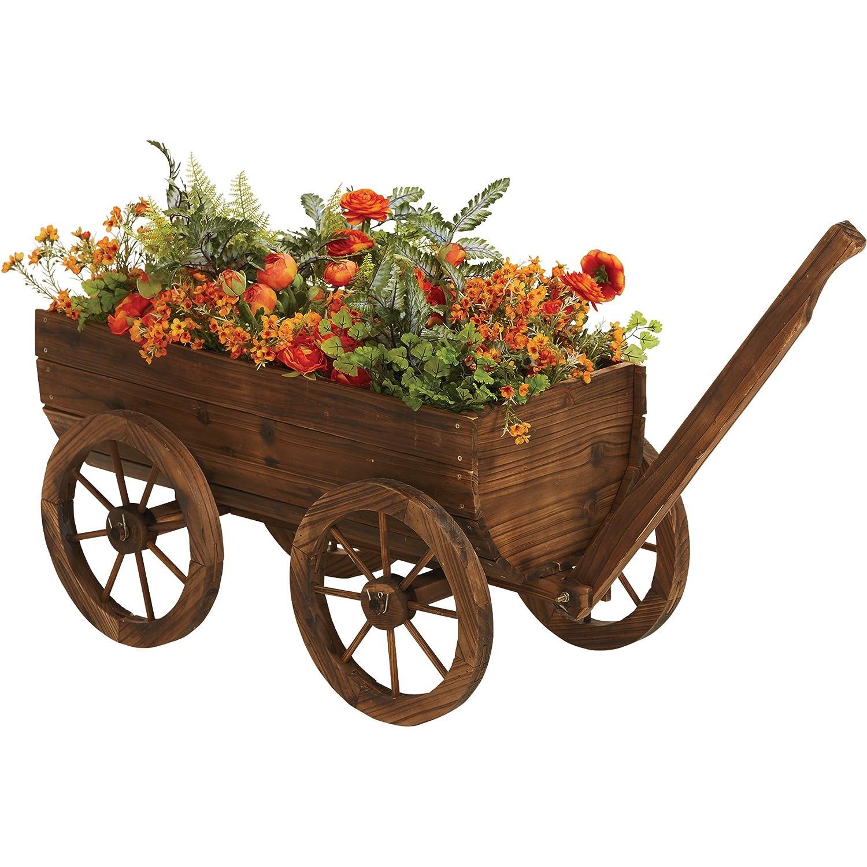 Amazon.com : Wooden Wagon Garden Planter : Garden & Outdoor