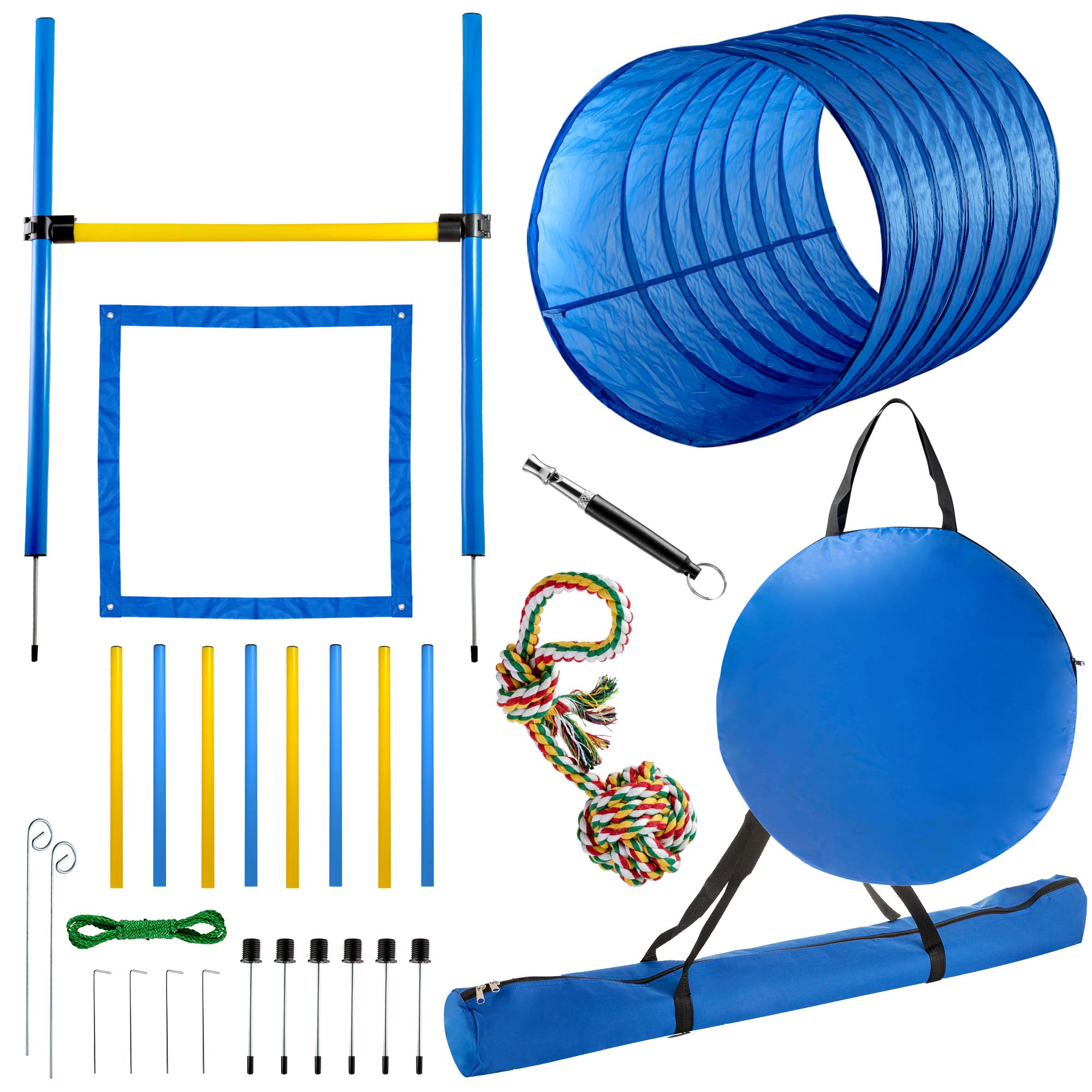 CHEERING PET Dog Agility Equipment - 28 Piece Dog Obstacle Course for Training and Interactive Play Includes Tunnel, Adjustable Hurdles, Poles, Whistle, Rope Toy with Carrying Case by CHEERING PET