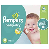 Diapers Size 4, 186 Count - Pampers Baby Dry Disposable Baby Diapers, ONE MONTH...