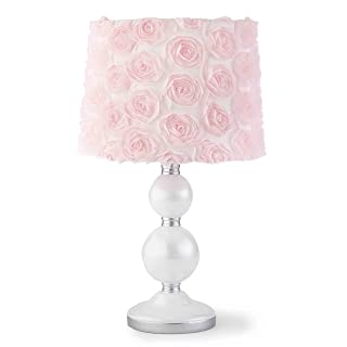 Levtex Baby - Elise Table Lamp - Spindle Base with Pink Rosette Shade Lamp - Nursery Lamp - Base and Shade - Pink, Grey and White - Nursery Accessories - Measurements: 22 in. high and 6 in. Diameter