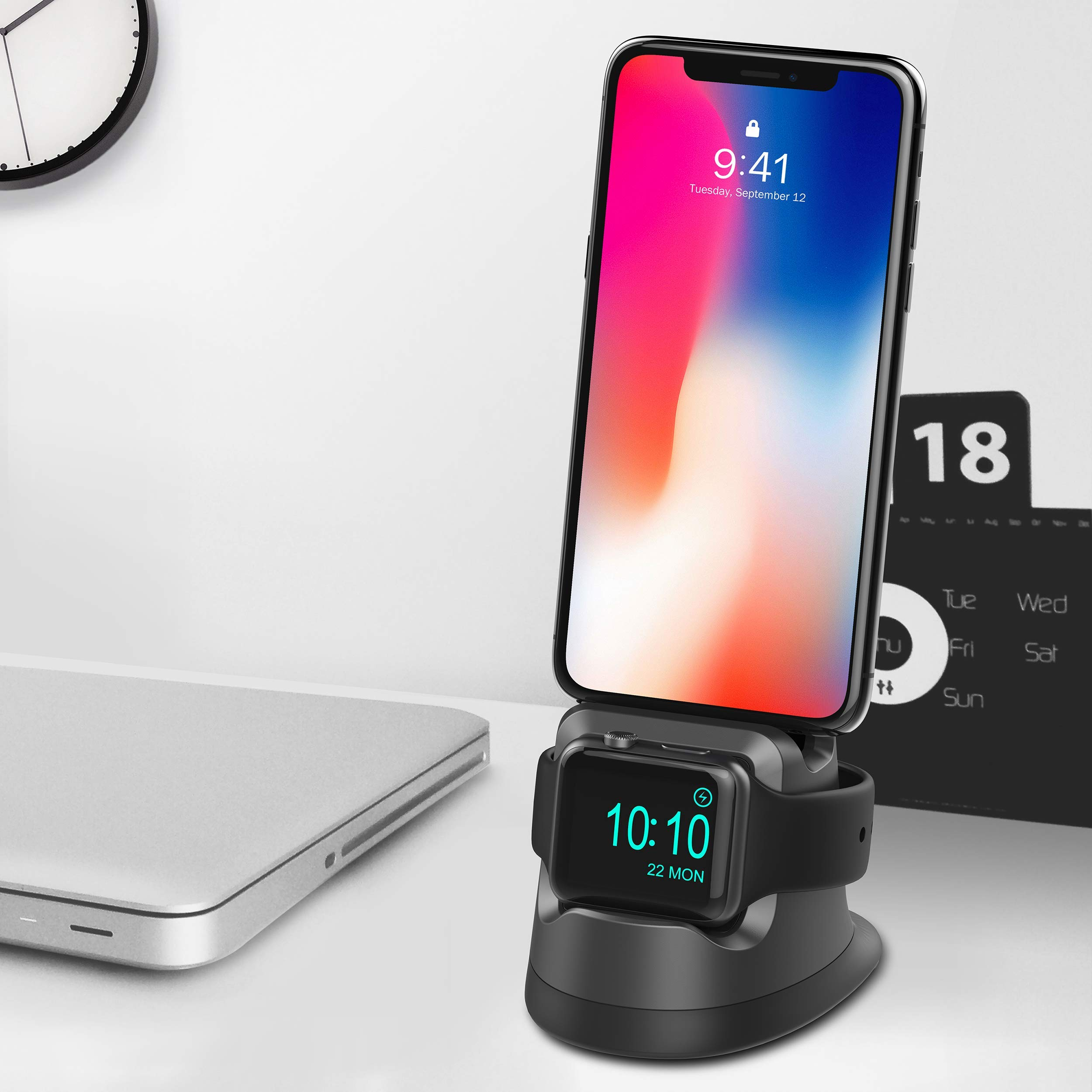 Cereecoo Stand Compatible for Apple Watch 4, Charging Stand Holder Compatible for iPhone Airpods 2 in 1 Charging Dock Compatible for iWatch Series 4/3/2/1 iPhoneX/8/8Plus/7/7Plus/6s/6s Plus