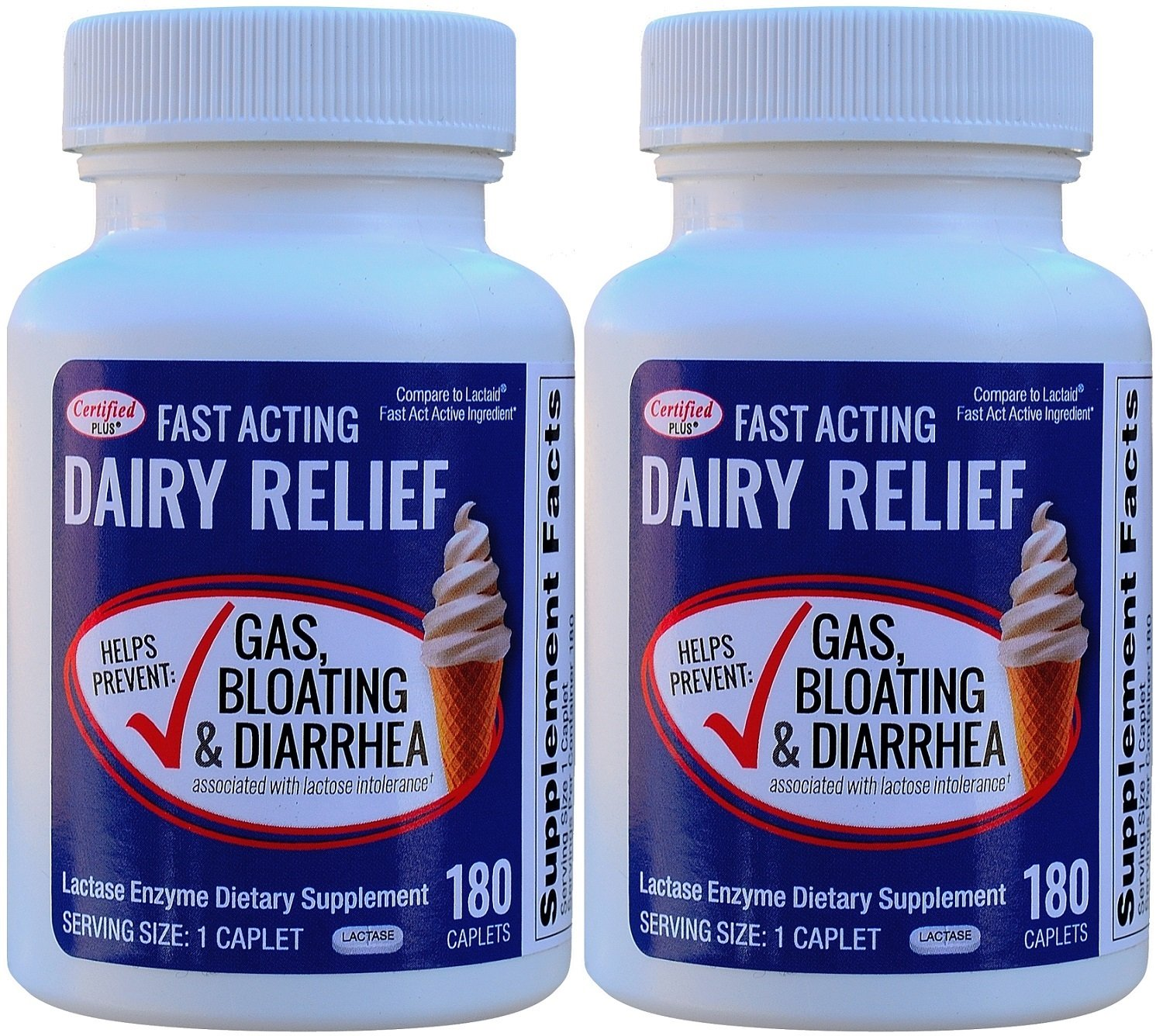 Fast Acting Lactase 360 Caplets Generic Lactaid Fast Act 9000 FCC Units per Caplet by Certified Plus