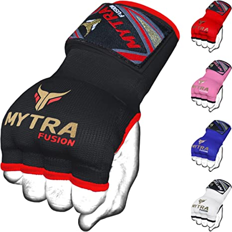 Mytra Hybrid Weight Lifting Gym Fitness Workout Inner Gloves Bar Grippers Boxing MMA Muay Thai Gym Workout hand wraps Gel inner gloves fingerless gloves bandages mitts hand protector.