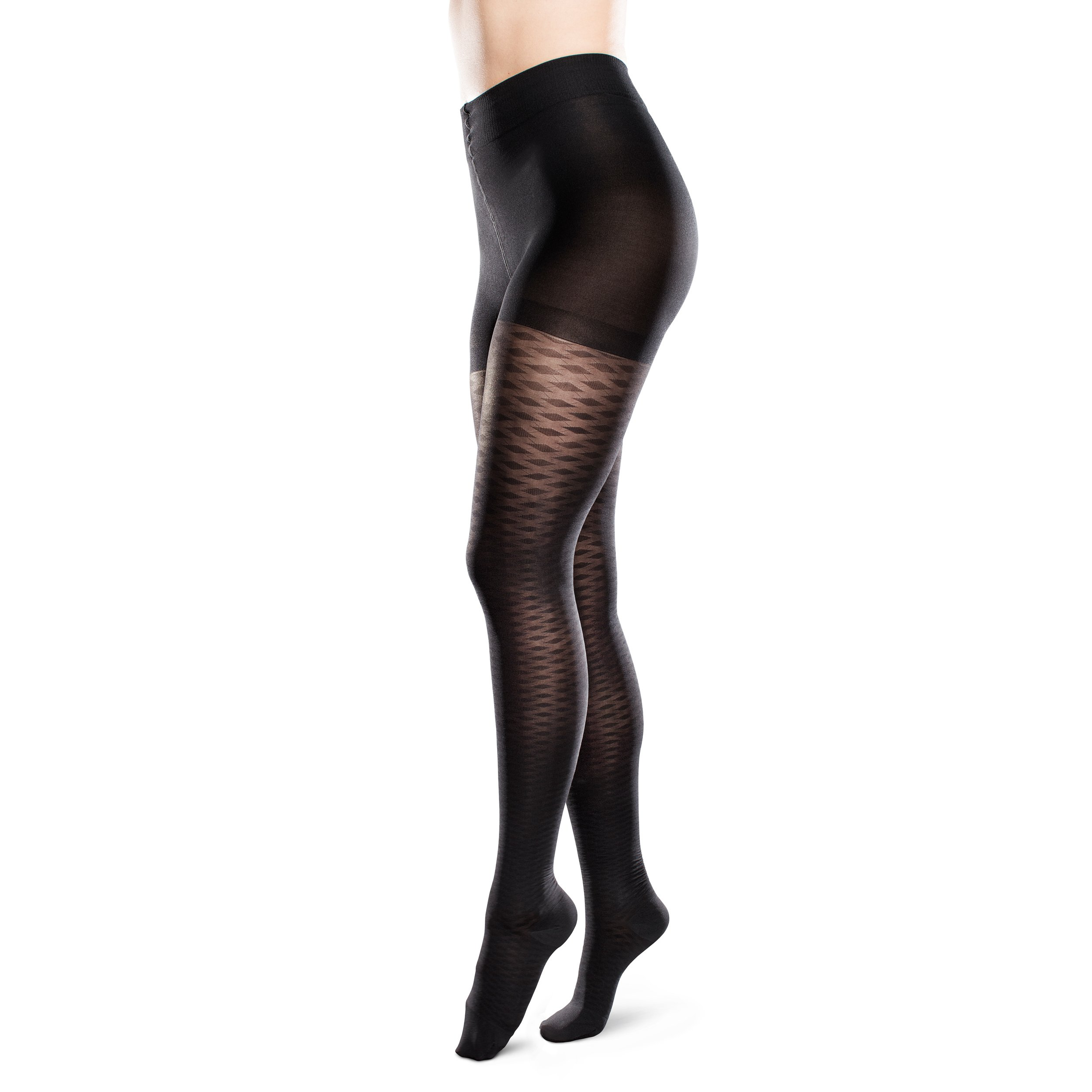 Sheer Ease Women's Diamond Patterned Support Pantyhose 20-30mmHg Moderate Compression Nylons (Black, Small Long )