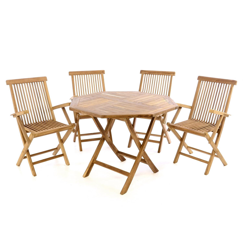 Divero GL05608 3 TLG. Balkonset Klappstuhl Tisch rund Ø 60cm Teakholz Garten-Set Sitzgarnitur, braun
